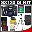 Canon PowerShot SX130 IS Digital Camera (Black) with 8GB Card + Tripod + (4) AA Batteries & Charger + Accessory Kit