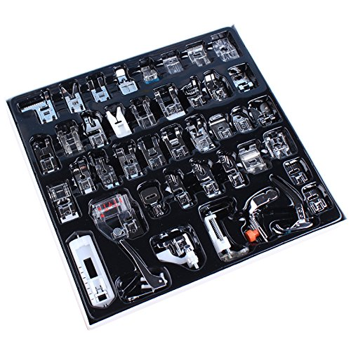 Professional Domestic 42 pcs Sewing Machine Presser Feet Set for Brother, Babylock, Singer, Janome, Elna, Toyota, New Home, Simplicity, Necchi, Kenmore, and White Low Shank Sewing Machines (Toyota Industrial Sewing Machine compare prices)