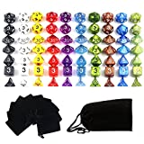 Goodlucky365 70多面体ダイス - 10色 各7個 - 小さなダイス10バッグ、合計70個 - 大きなベルベットダイスバッグ