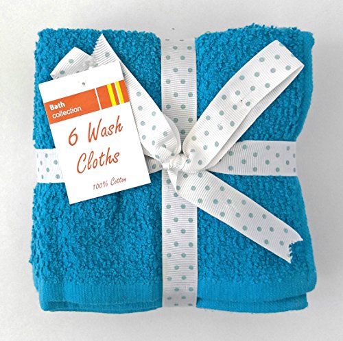 Set of 6 Bath Collection 100% Spring-colored Wash Cloths (ocean blue)