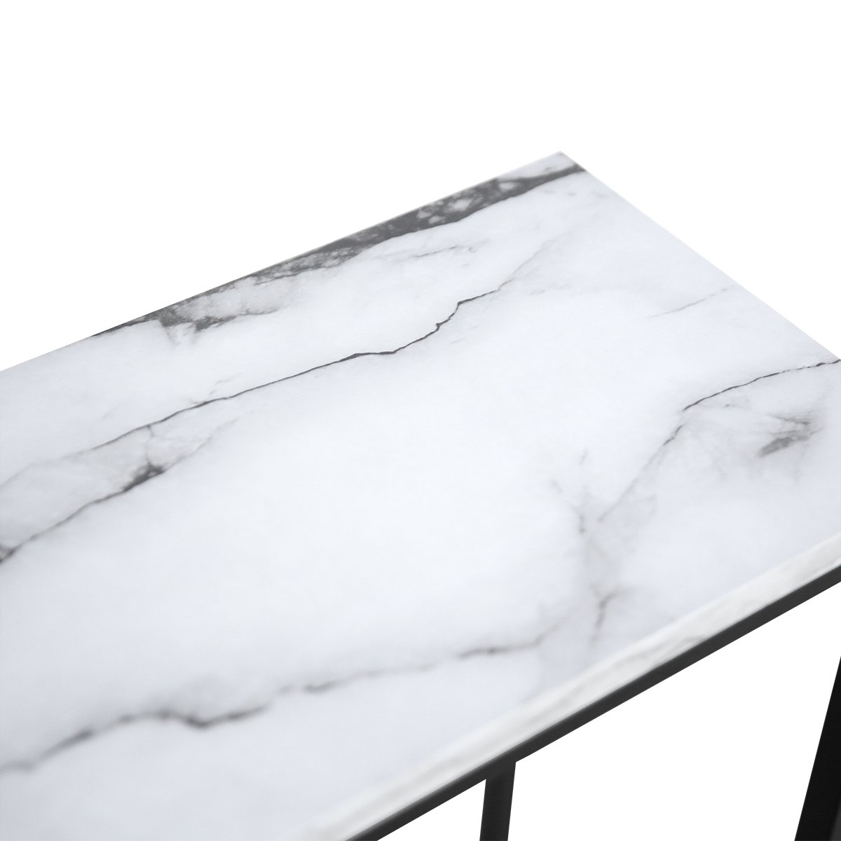Tilly Lin Modern Accent Faux Marble Console Table, Black Metal Frame, for Hallway Entryway Living room, Entrance Hall Furniture, Carrara