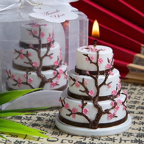 Cherry Blossom Design Cake Candle Favor, 1