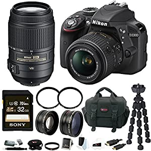Nikon D3300 DSLR Camera w/18-55mm & 55-300mm Lens & 32GB SD Card Bundle