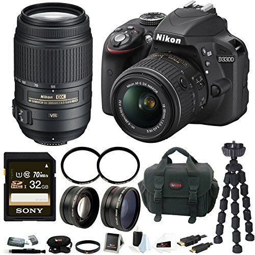 Nikon D3300 DSLR Camera with 18-55mm & 55-300mm Lenses and Accessory Kit