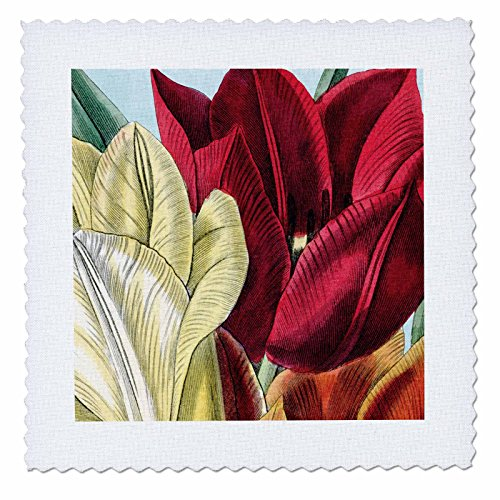 PS Vintage - Vintage Tulip Flowers - 25x25 inch quilt square (qs_203816_10)