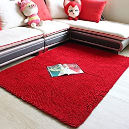 Chenille Red Area Rug Non-Slip Absorbent Floor Mat Swivel Chair/Bedroom/Home Floor Carpet Super Cozy Fluffy Rug (Red, 4\'0x5\'3)