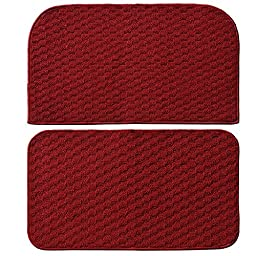 Garland Rug Town Square 2-Piece Kitchen Rug Set, 18-Inch by 28-Inch, Chili Red