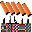 Luggage Handle Wraps and Luggage Tags - Lalonovo 5 PCS Fluorescence Neoprene Handle Wraps/ Grip/ Identifier for Travel Bag Luggage Suitcase + 5 PCS Travel Accessories Luggage Tag Identifier - Color 6