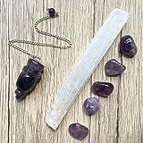 Crystal Healing Set 11 Selenite Wand Amethyst Pendulum Stones