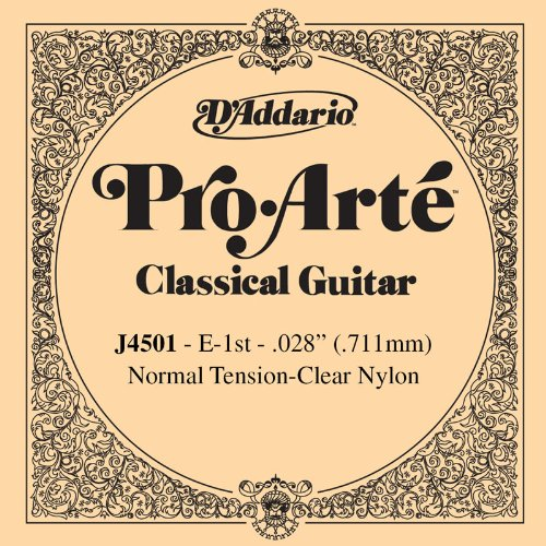 D'Addario J4501 Pro-Arte Nylon Classical Guitar Single String, Normal Tension, First String d addario ej46 pro arte nylon hard tension