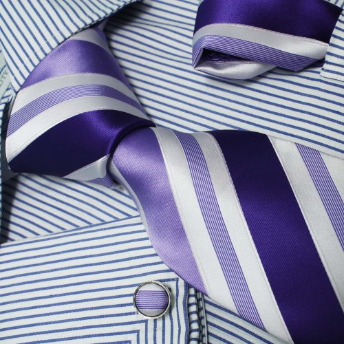 Purple White Stripes 100% Jacquard Silk Tie Hanky Mens Necktie Cufflinks Handkerchiefs Set with Gift Box Set Ph1025