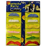 Pack Of 12 Self Adhesive Assorted Coloured Moustaches. Tashes Multipackby FDC