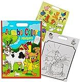 1 Stück: XXL Malblock A3 / Malbuch mit 30 Sticker - 24 Seiten - für Jungen - Malvorlagen - für kleine Kinder Auto Teddy Bären Bauernhof - Malbücher Ausmalbilder Aufkleber