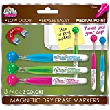 Board Dudes Mini Dry Erase Markers with Magnet Tassel, 3-Count, Assorted Colors (DDT67)
