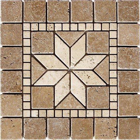 12-x-12-flower-noche-tumbled-medallion-tile-travertine-mosaic-wall-floor-art