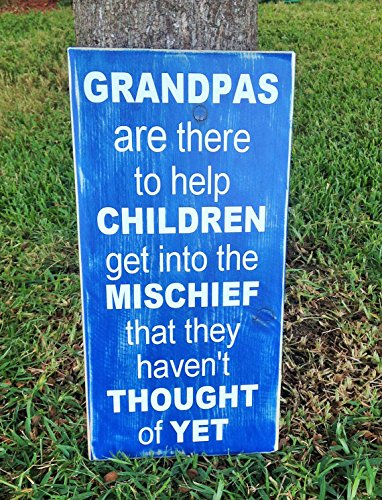 Grandpa Grandchildren (Choose Color) Rustic Shabby Chic Wood Wall Decor Sign