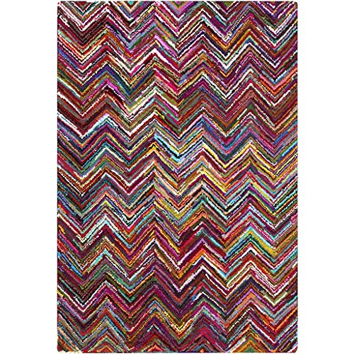 5.5' X 8.5' Electric Chevrons Magenta Pink, Cornsilk Yellow And Sea Blue Hand Hooked Area Throw Rug