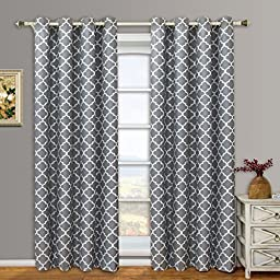 Meridian Gray Grommet Room Darkening Window Curtain Panels, Pair / Set of 2 Panels, 52x63 inches Each, by Royal Hotel