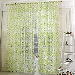 Pastoral Floral Scarfs Sheer Voile Door Window Curtain Drape Panel Valances New(1pc) (Green)