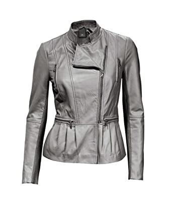Heine - Best Connections Damen-Jacke Lammnappa-Jacke Grau