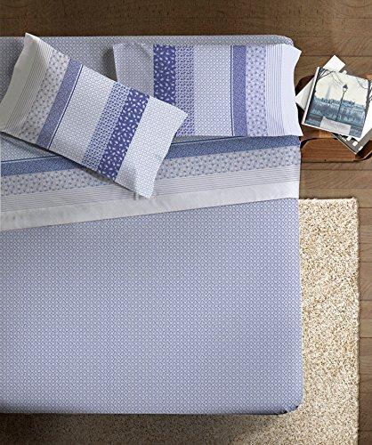 Ipersan Iris Completo Percalle Art De Vivre Matrimoniale, Blu/Azzurro, Matrimoniale