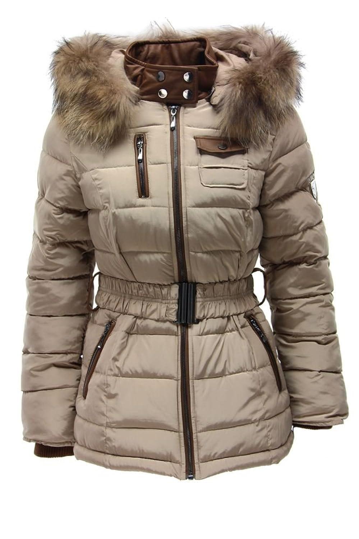 Moderne Jacke mit Kapuze und Echtfell LIGHT BEIGE S M L XL DAMEN Winterjacke Stepp Kunstleder
