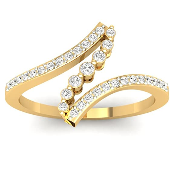 18K Yellow Gold 0.24cttw Round-Cut-Diamond (F-G Color, VS Clarity) Diamond Ring