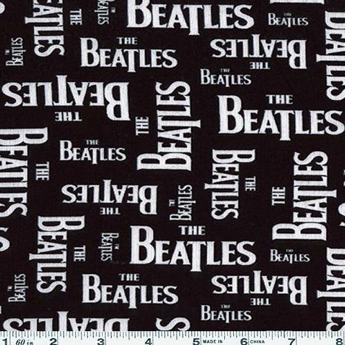 .com: 45'' Wide The Beatles Logo Black & White Fabric By The Yard