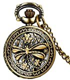 #5: LMP3Creation Fashion Classical Bronze Vintage Retro Antique Look Skeleton Hollowed Dragonfly Pocket Watch - Unisex Chain Necklace Watch (POW-0199)
