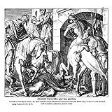 Grabado antiguo (1885) - Xilografía - Jezabel Devorada Por Los Perros (22x25.5), Obermann, F.