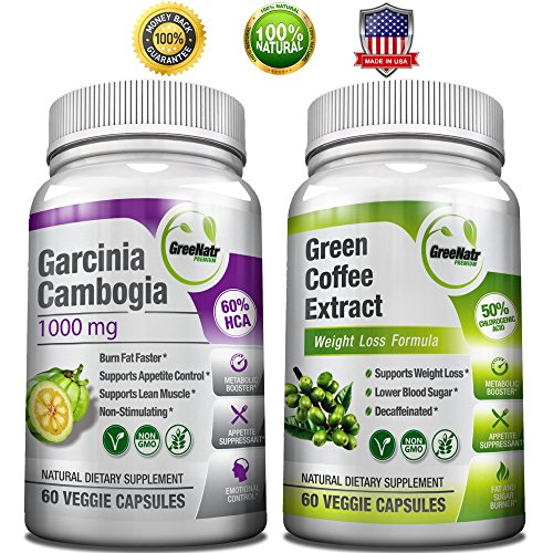 GreeNatr Weight Loss Bundle with Pure Green Coffee Bean Extract and Pure Garcinia Cambogia Extract, 120 Capsules (Pure Green Bean Coffee compare prices)