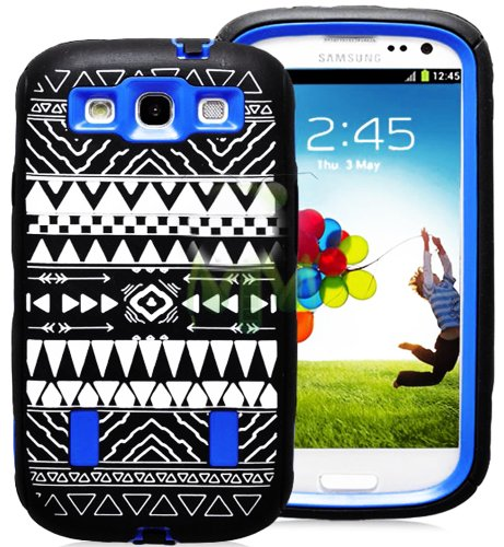 Mylife (Tm) Black And Royal Blue - Tribal Print Armor Series (Durable Built In Screen Protector + Urban Body Armor Glove) Case For Samsung Galaxy S3 Gt-I9300 And Gt-I9305 Touch Phone (Thick Silicone Outer Gel + Tough Rubberized Internal Shell + Mylife (Tm