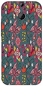 Snoogg Seamless Pattern With Butterflies And Flowers Designer Protective Back Case Cover For HTC M8