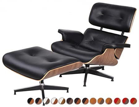 MLF Plywood Eames Lounge Chair & Ottoman reproduction in Premium Top Leather(Black, Aniline Leather, Walnut)
