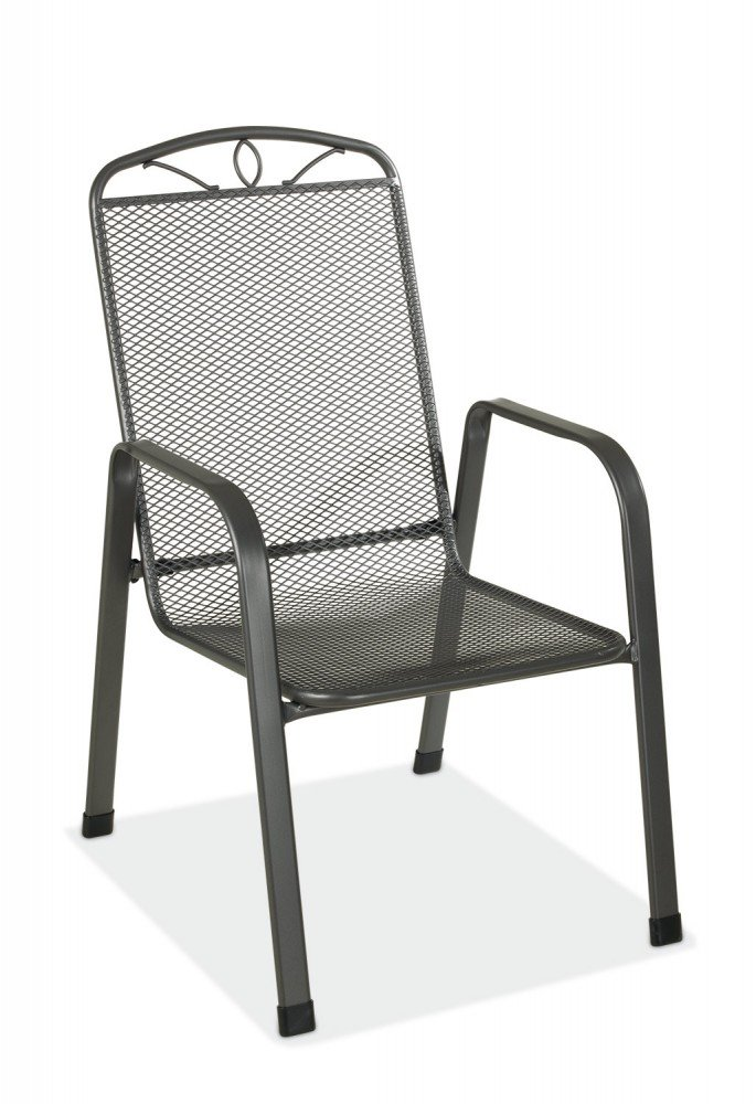 Gartenstuhl Metall stapelbar grau TxBxH 75 x 57 x 94 cm Elda