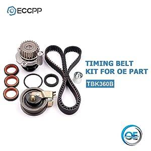 ECCPP Timing Belt Kit Water Pump TBK306B for 2001-2006 Audi TT Volkswagen Jetta Beetle GTi 1.8L TURBO