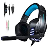 PS4 Gaming Headset with Mic for PC, Xbox One S, Laptop, Mac, Stereo Over Ear Gamer Headphones with Microphone LED Lights, Noise Cancelling for Computer, Ipad, Smartphone, Nintendo Switch - Blue (Color: Blue)