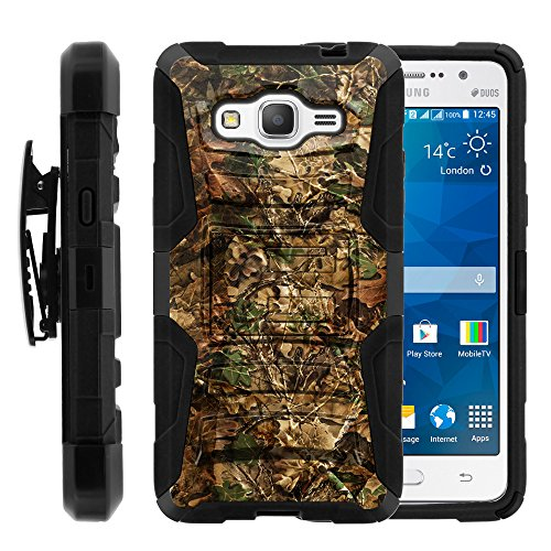 buy Samsung Galaxy Grand Prime Case | Rugged Armor Series Impact Hard Rubber Durable Unique Creative Cover + Belt Clip , Grand Prime G530 by Miniturtle ® - Hunting Leaves Camo for sale