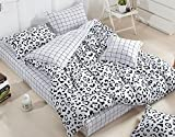 Luk Oil Home Textile,Fashion White Plaid Black Cute Cow Pattern Bedding Classical Black and White Cotton Duvet Cover Set Elegant Fillet Bed Sheets Queen Size, 4Pcs