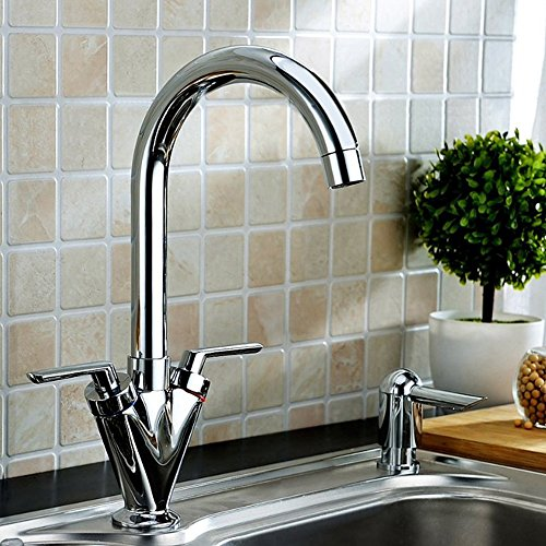 Hapilife® Twin Lever Swivel Spout Modern Kitchen Sink Basin Mixer Tap