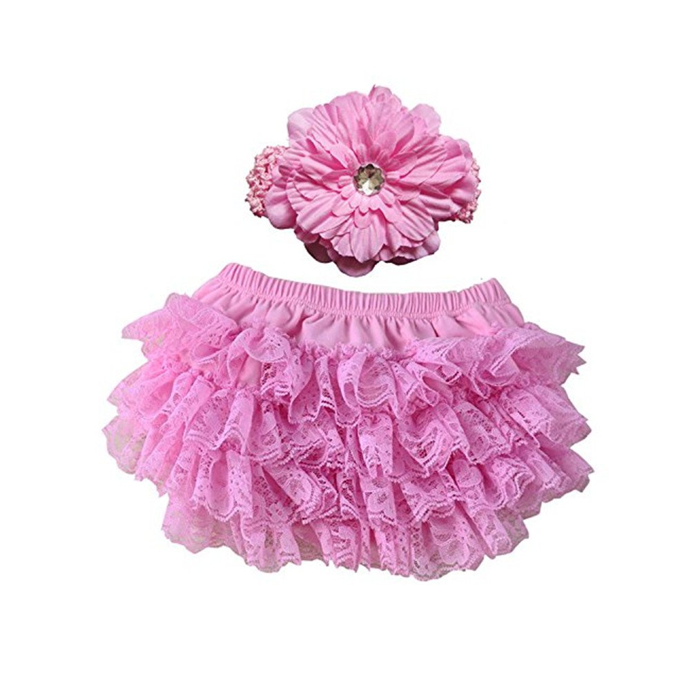EQLEF® weicher Baumwolle nette Spitze Rüsche-Pflanze-Windel-Abdeckungen mit Blumen-Stirnband für Baby (Pink)