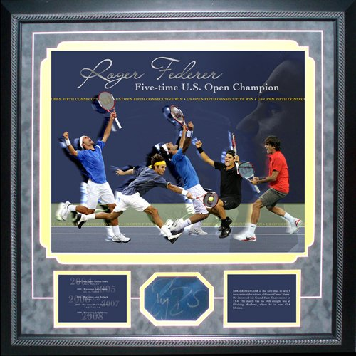 Autographed Federer Photograph - 5x US Open Championship Collage - Steiner Sports Certified - Autographed Tennis Photos