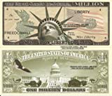 Novelty Dollar Statue of Liberty with Torch US Capital One Million Dollar Bills x 4 America
