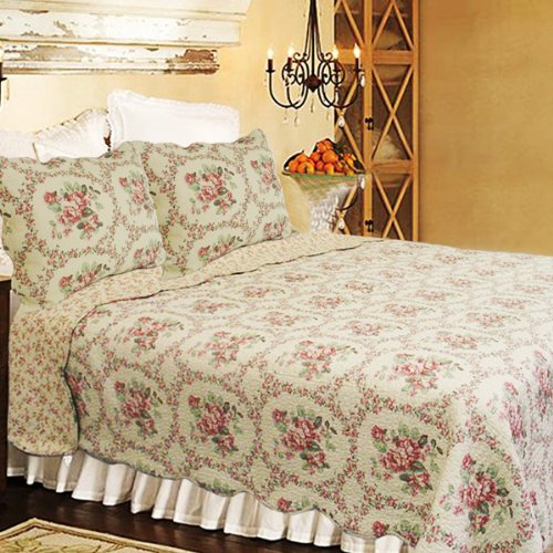 [Reminiscent Mood-Red] 100% Cotton 3PC Classic Floral Vermicelli-Quilted Quilt Set (King Size)