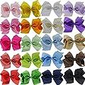 "QingHan 4.5"" Baby Girl Grosgrain Ribbon Headbands Boutique Hair bows Alligator Clips For Teens Kids 20pcs"