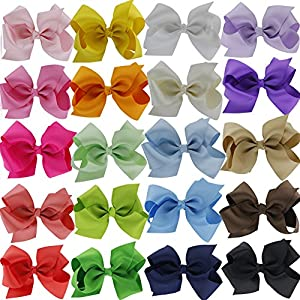 QingHan Little Girls' Grosgrain Ribbon Hair Bow 4.5