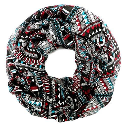 accessu-Echarpe-Foulard-pour-Femme-Multicolor-Ethno-Aztec-Pattern-turquoiseredblack