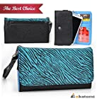 [Safari Metro] PU Leather Women's Phone Wallet with Wrist Strap fits LG G2 Case - Blue Zebra & Black. Bonus Ekatomi Screen Cleaner