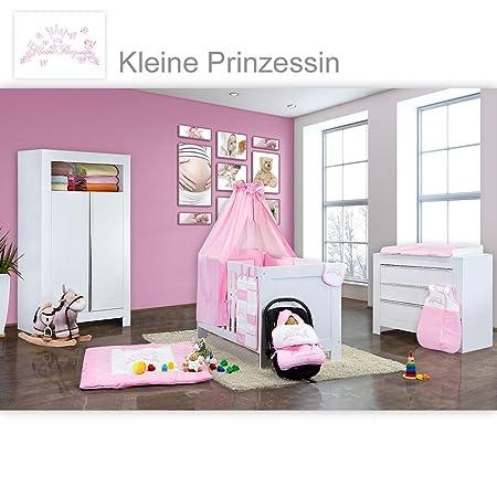Babyzimmer Felix in weiss 19 tlg. mit 2 turigem Kl + Kleine Prinzesin in Rosa