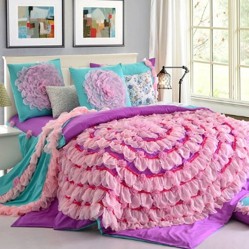 Korean Designer Princess Bedding Set,Girls Purple Pink Lace Ruffle ...